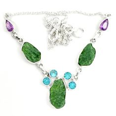 Natural green moldavite (genuine czech) 925 sterling silver necklace d25893