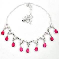 Natural red ruby pearl 925 sterling silver necklace jewelry d26176
