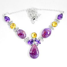 56.35cts natural purple cacoxenite super seven 925 silver necklace d27527