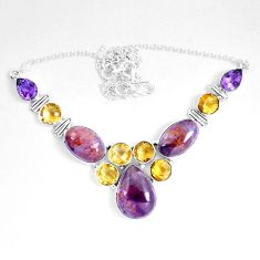 59.26cts natural cacoxenite super seven melody stone 925 silver necklace d27528