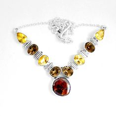 30.19cts natural multicolor mexican fire agate 925 silver necklace d27529
