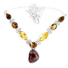 30.45cts natural multicolor mexican fire agate 925 silver necklace d27530