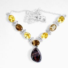 Clearance Sale- 30.65cts natural multicolor mexican fire agate 925 silver necklace d27536