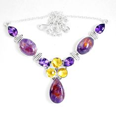 53.42cts natural cacoxenite super seven melody stone) 925 silver necklace d27538