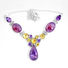 58.75cts natural cacoxenite super seven melody stone) 925 silver necklace d27539