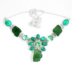 65.70cts natural green moldavite czech malachite 925 silver necklace d27540