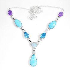 Natural blue larimar moonstone 925 sterling silver necklace d27542
