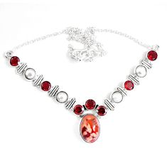 Clearance Sale- Natural multi color mexican fire opal garnet 925 silver necklace d27545