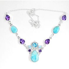 Natural blue larimar amethyst 925 sterling silver necklace jewelry d27549