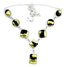 Natural golden pyrite in magnetite (healer's gold) 925 silver necklace d30060