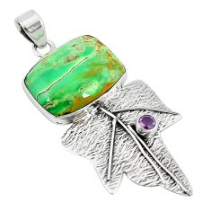 Clearance Sale- Natural green variscite amethyst 925 sterling silver pendant jewelry d10085