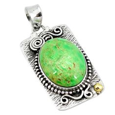 Natural green variscite 925 sterling silver two tone pendant jewelry d10091