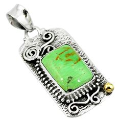 Clearance Sale- ver natural green variscite two tone pendant jewelry d10095