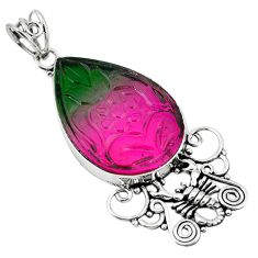 Clearance Sale- Watermelon tourmaline (lab) 925 sterling silver scorpion pendant d10120