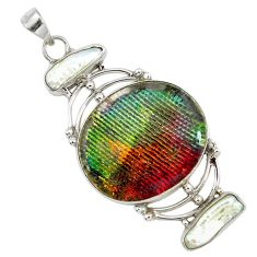 Clearance Sale- roic glass biwa pearl 925 sterling silver pendant d10302