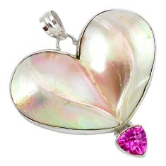 Heart natural watermelon mother of pearl kunzite (lab) 925 silver pendant d10307