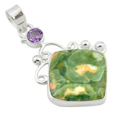 925 silver natural multi color rainforest rhyolite jasper pendant jewelry d10538