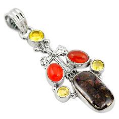 an) cornelian (carnelian) 925 silver cross pendant d11134