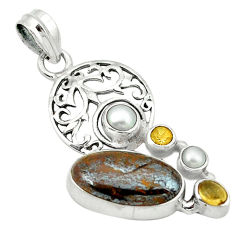 Clearance Sale- Natural brown tiger's hawks eye citrine pearl 925 silver pendant d1126