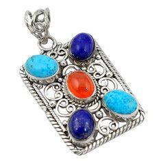 Clearance Sale- Natural orange cornelian (carnelian) lapis 925 silver pendant jewelry d11361
