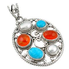 Clearance Sale- Natural orange cornelian (carnelian) pearl 925 silver pendant jewelry d11374