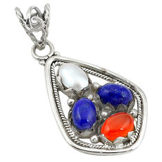 Clearance Sale- 925 silver natural orange cornelian (carnelian) pearl lapis pendant d11379