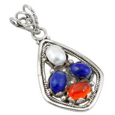 Clearance Sale- Natural orange cornelian (carnelian) pearl lapis 925 silver pendant d11380