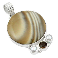 Clearance Sale- Natural brown striped flint ohio smoky topaz pearl 925 silver pendant d11525