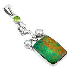 Natural green chrysocolla peridot pearl 925 silver fish pendant d11541