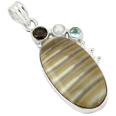 Clearance Sale- riped flint ohio smoky topaz pearl 925 silver pendant d11551