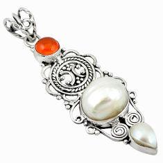 Clearance Sale- nelian (carnelian) 925 silver pendant d11655