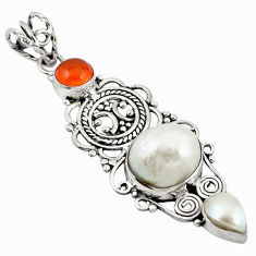 Clearance Sale- Natural white blister pearl cornelian (carnelian) 925 silver pendant d11658