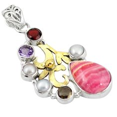 Clearance Sale- 13.79cts natural pink rhodochrosite inca rose 925 silver 14k gold pendant d11683