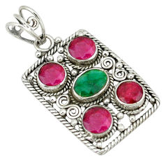 Clearance Sale- Natural green emerald red ruby quartz 925 silver pendant jewelry d11705