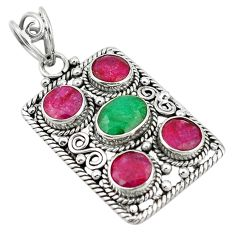 Green emerald red ruby quartz 925 sterling silver pendant jewelry d11742
