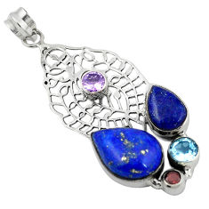 Clearance Sale-  lapis lazuli amethyst pendant jewelry d11784