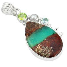 Clearance Sale- e peridot pearl 925 silver pendant d11817