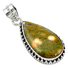 Clearance Sale- Natural green ocean sea jasper (madagascar) 925 silver pendant d11834