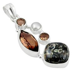 Clearance Sale- Natural turritella fossil snail agate 925 sterling silver pendant jewelry d11852