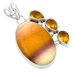 Clearance Sale- Natural brown mookaite yellow citrine 925 sterling silver pendant d1186