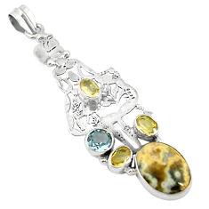 lor ocean sea jasper (madagascar) 925 silver pendant d11868