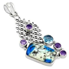 Clearance Sale- Natural k2 blue (azurite in quartz) amethyst 925 silver pendant d11918