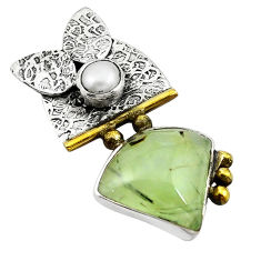 Clearance Sale- 925 silver victorian natural green prehnite pearl two tone pendant d11965
