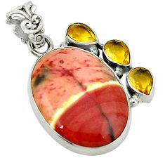 Clearance Sale- Natural brown mookaite citrine 925 sterling silver pendant d1199