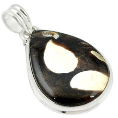 Clearance Sale- 925 silver natural brown peanut petrified wood fossil pear pendant d12079