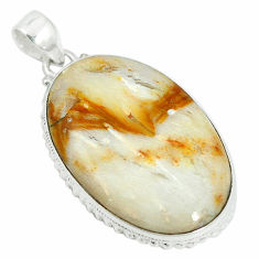 Clearance Sale- 925 sterling silver natural brown picture jasper oval pendant jewelry d12130
