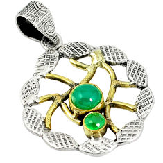 alcedony 925 sterling silver two tone pendant d12209