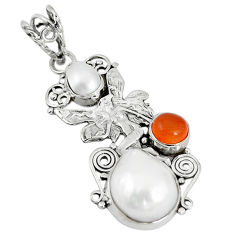 Clearance Sale- Natural white blister pearl cornelian (carnelian) 925 silver pendant d12254