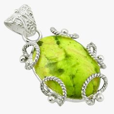 Clearance Sale- Natural yellow lizardite (meditation stone) 925 silver pendant d1226