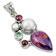 Clearance Sale- Natural purple cacoxenite super seven (melody stone) 925 silver pendant d12297